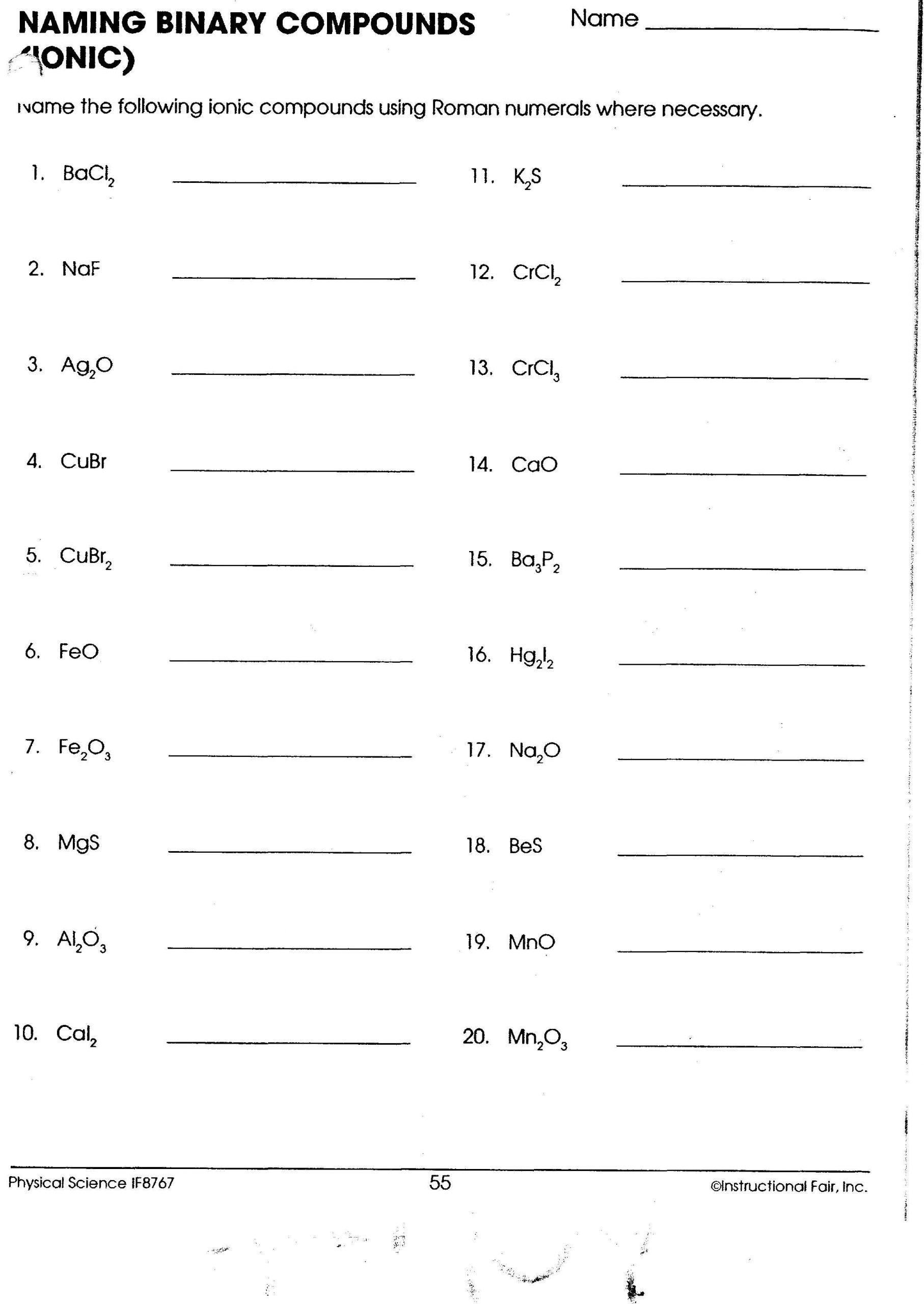 Simple Binary Ionic Compounds Worksheet