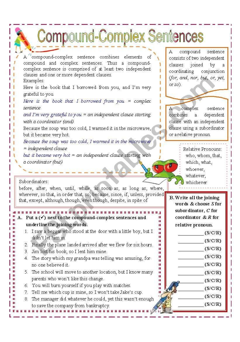 pound plex Sentences ESL worksheet by missola