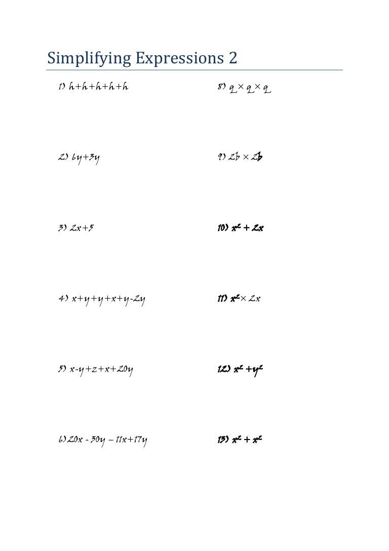 Simplifying Algebraic Expressions Worksheet