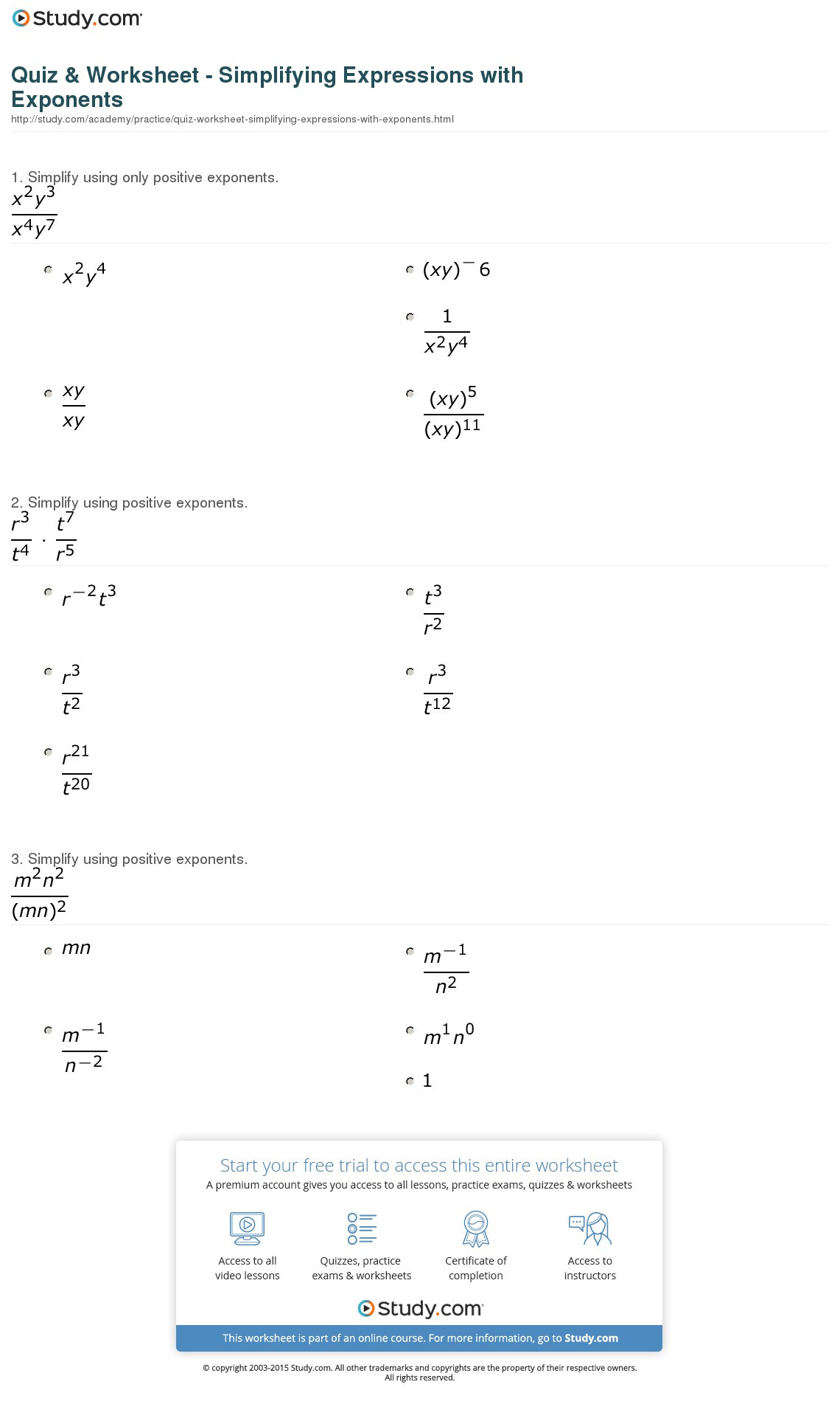 Simplifying Exponential Expressions Worksheet
