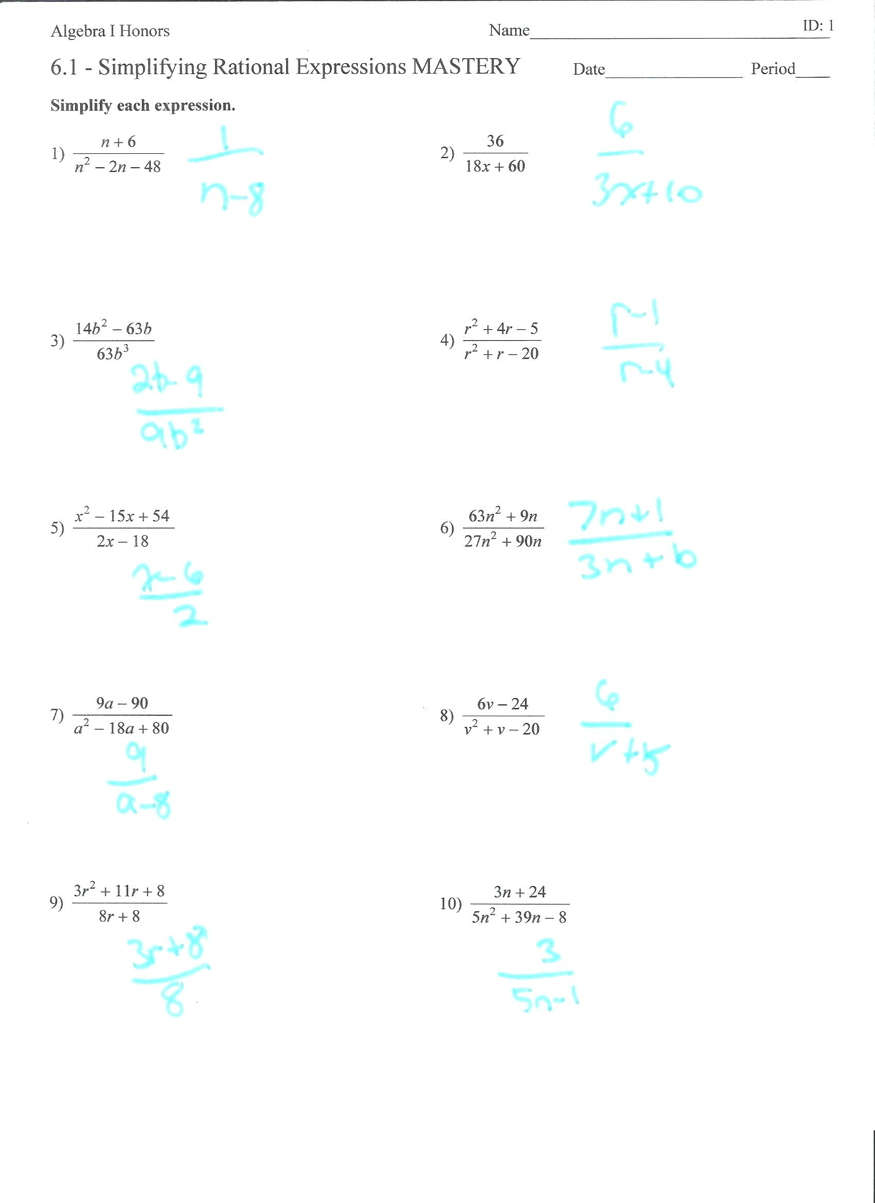 Simplifying Radical Expressions Worksheet