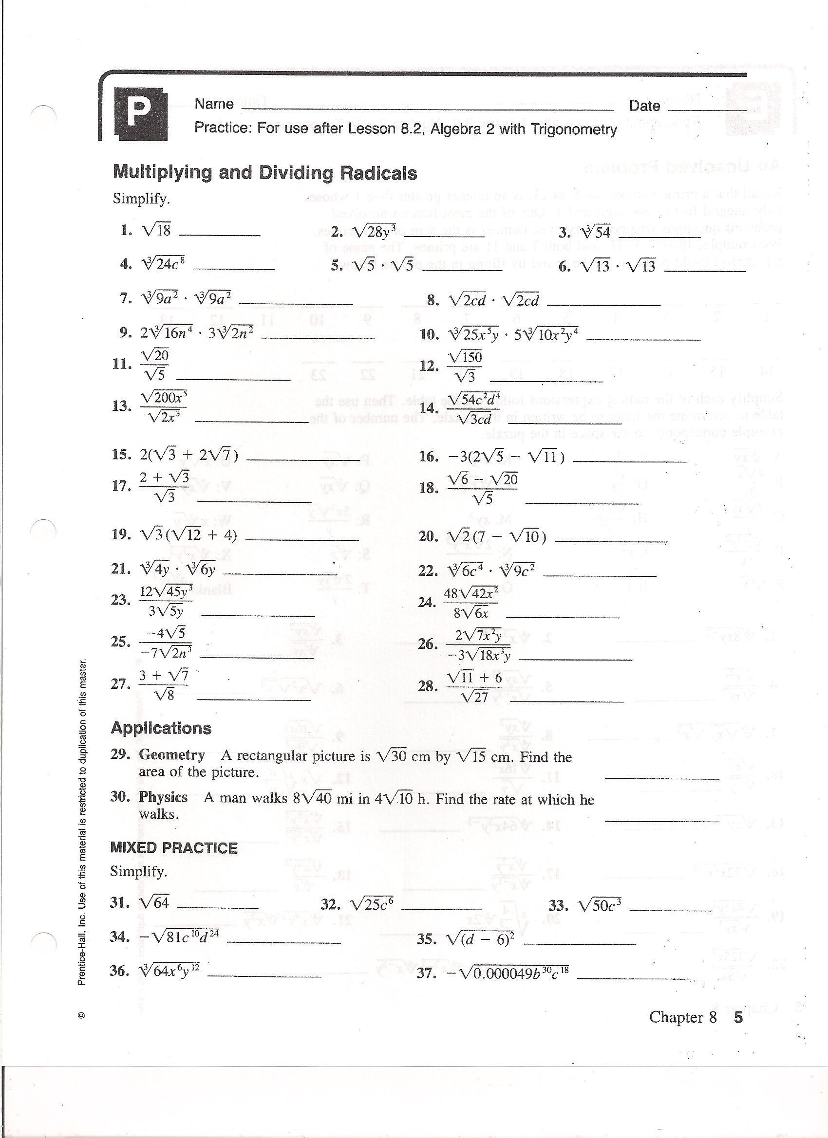 Simplifying Radicals with Variables Worksheet