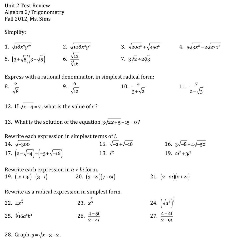 Simplifying Radicals Worksheet Algebra 2