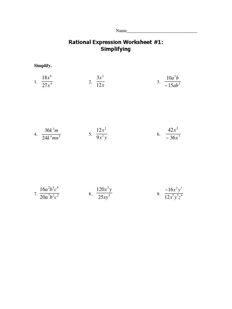 Simplifying Rational Expressions Worksheet Answers