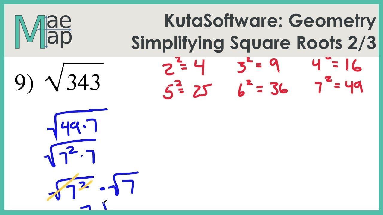 Simplifying Square Roots Worksheet