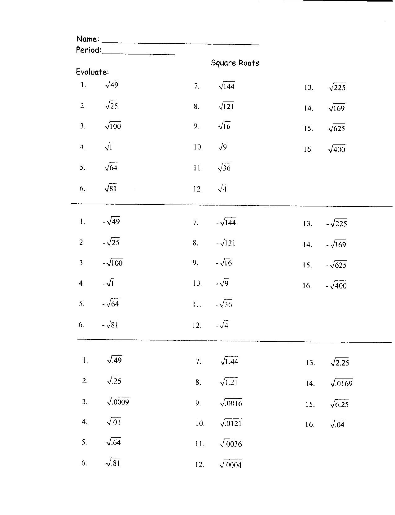 Simplifying Square Roots Worksheet Answers