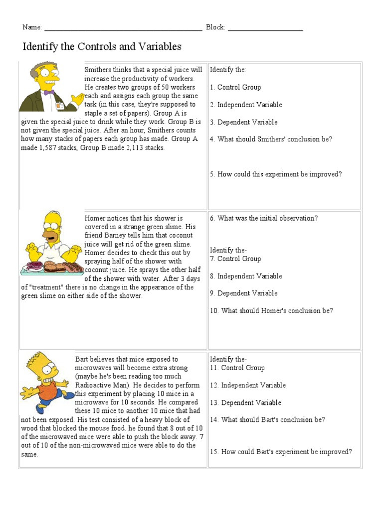 Simpsons Variables Worksheet Answers