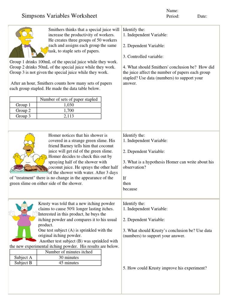 Worksheet Variables Simpsons Bart Simpson