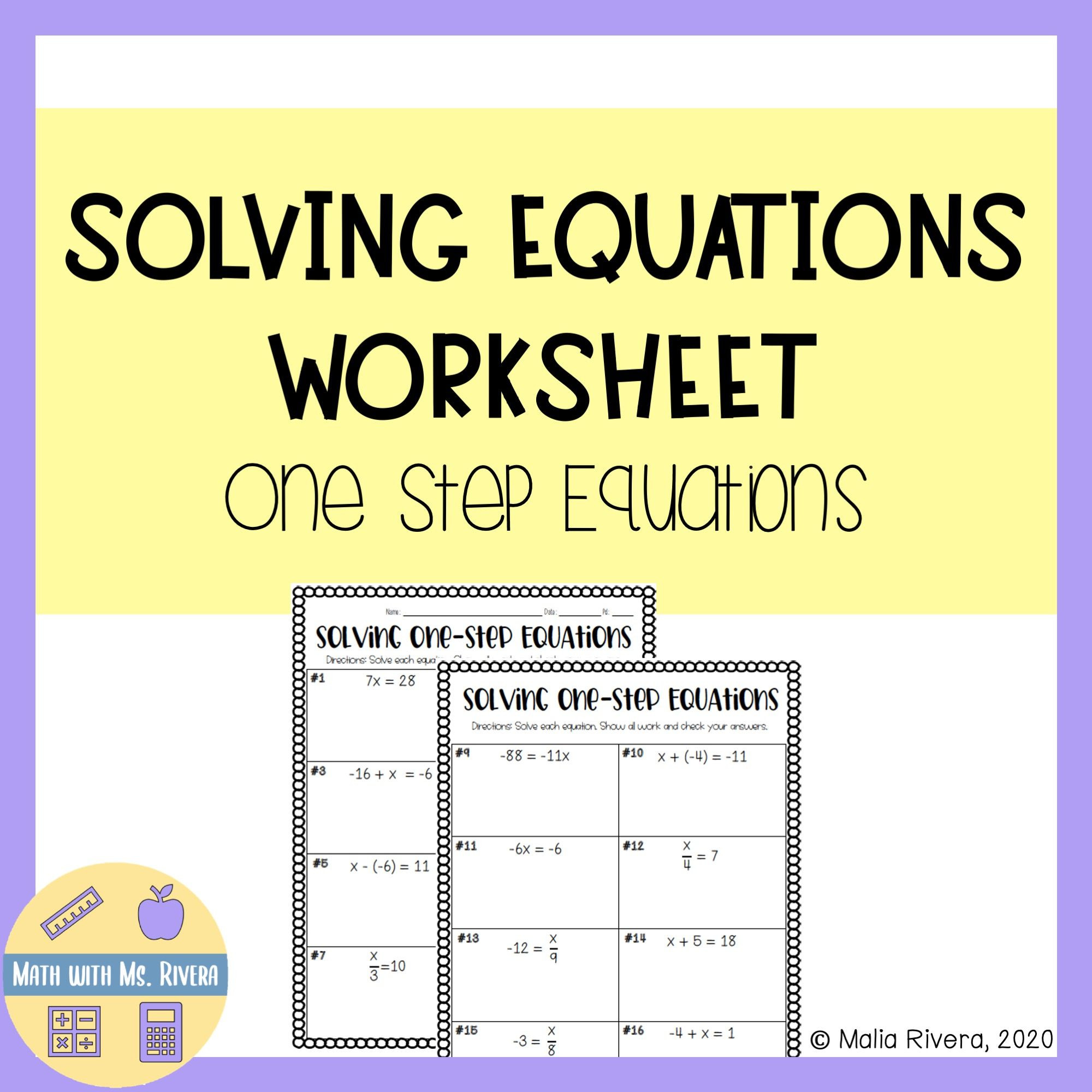 Solving Equations Review Worksheet