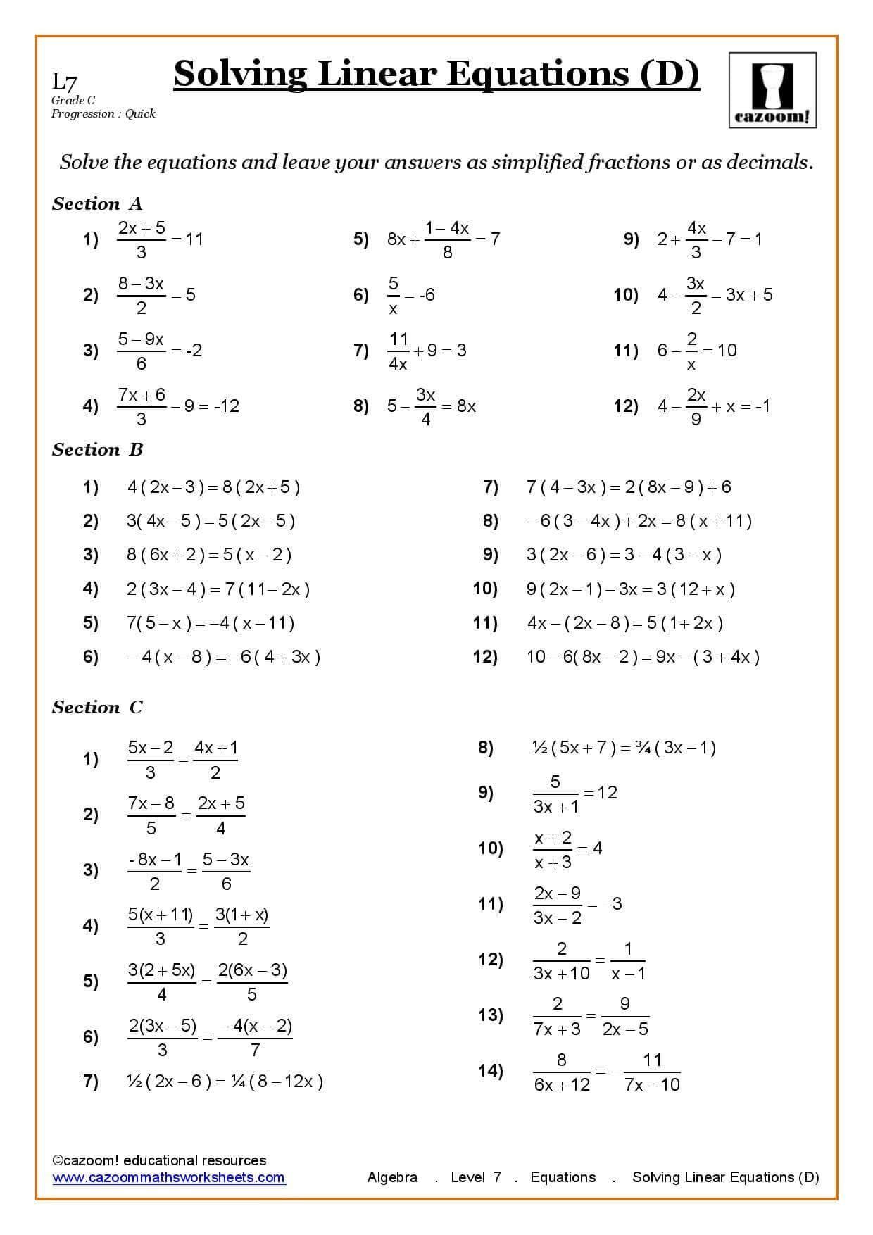 Solving Equations Worksheet Pdf