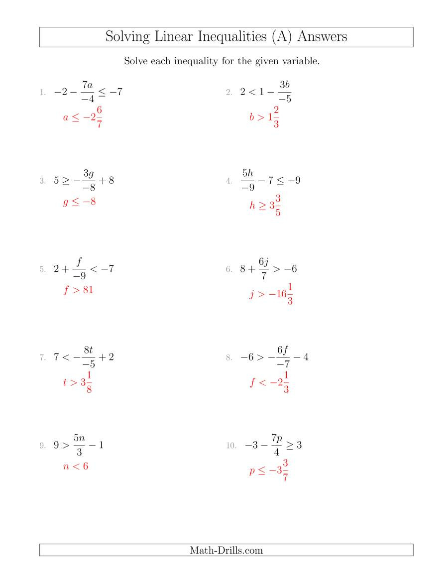 Solving Inequalities Worksheet Pdf