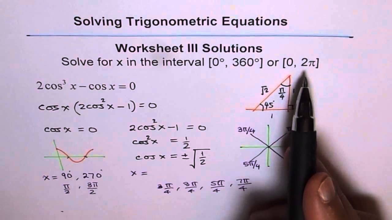 Trigonometric Equations Worksheet 3 Solutions Q5