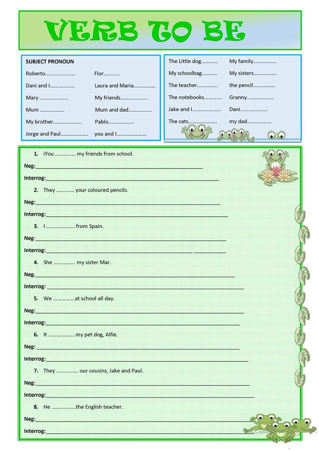 Spanish Subject Pronouns Worksheet