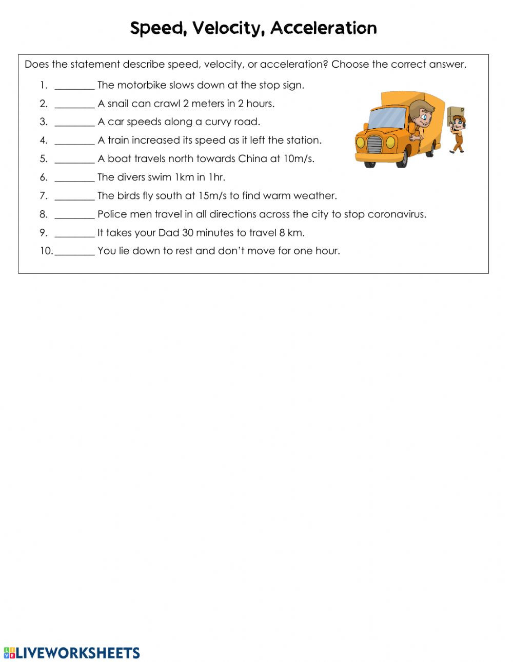 Speed Velocity and Acceleration Worksheet