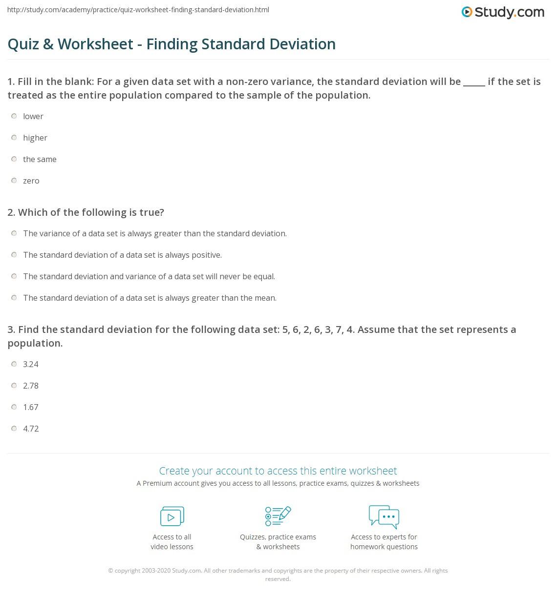 Quiz & Worksheet Finding Standard Deviation