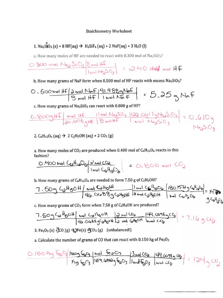 Stoichiometry Problems Worksheet Answers