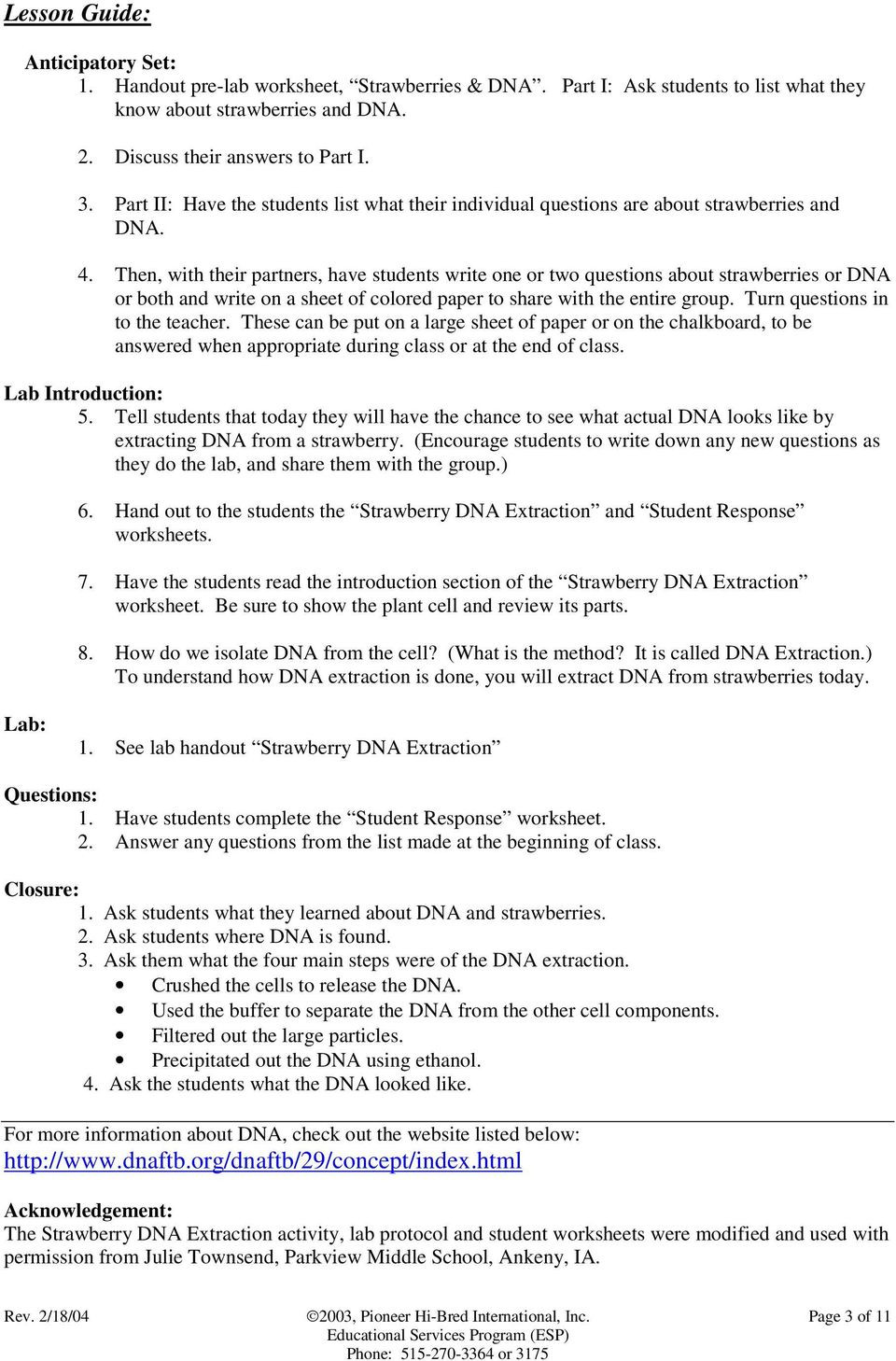 Module 3 Strawberry DNA Extraction PDF Free Download