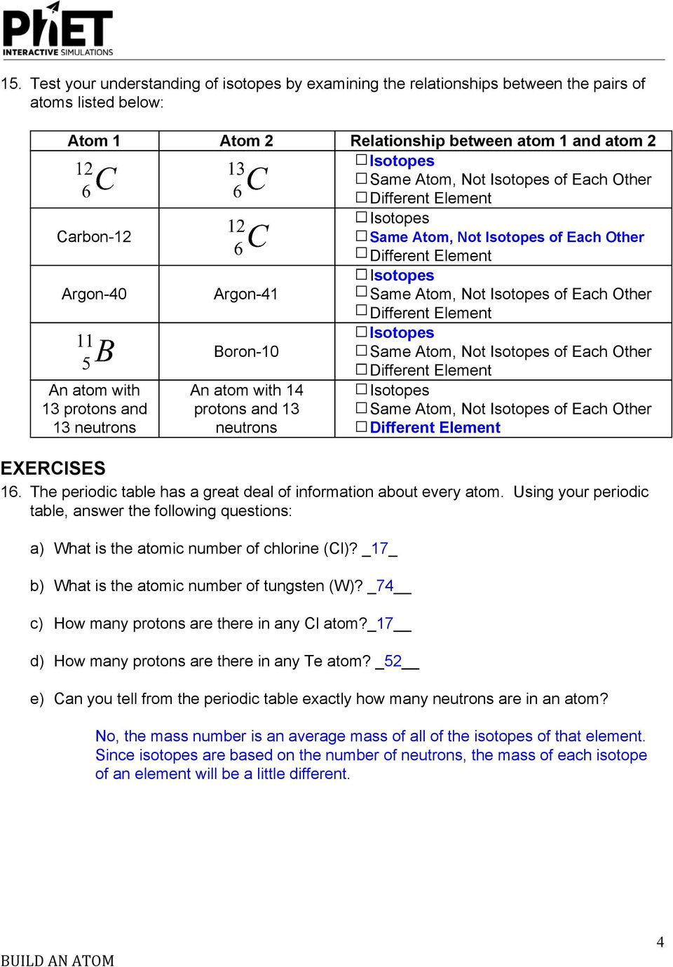 Subatomic Particles Worksheet Answers