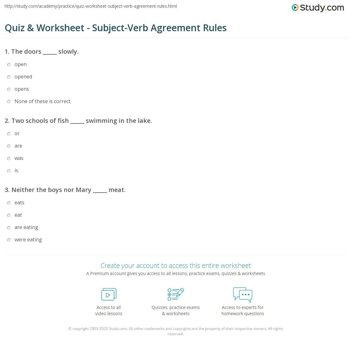 Subject Verb Agreement Worksheet