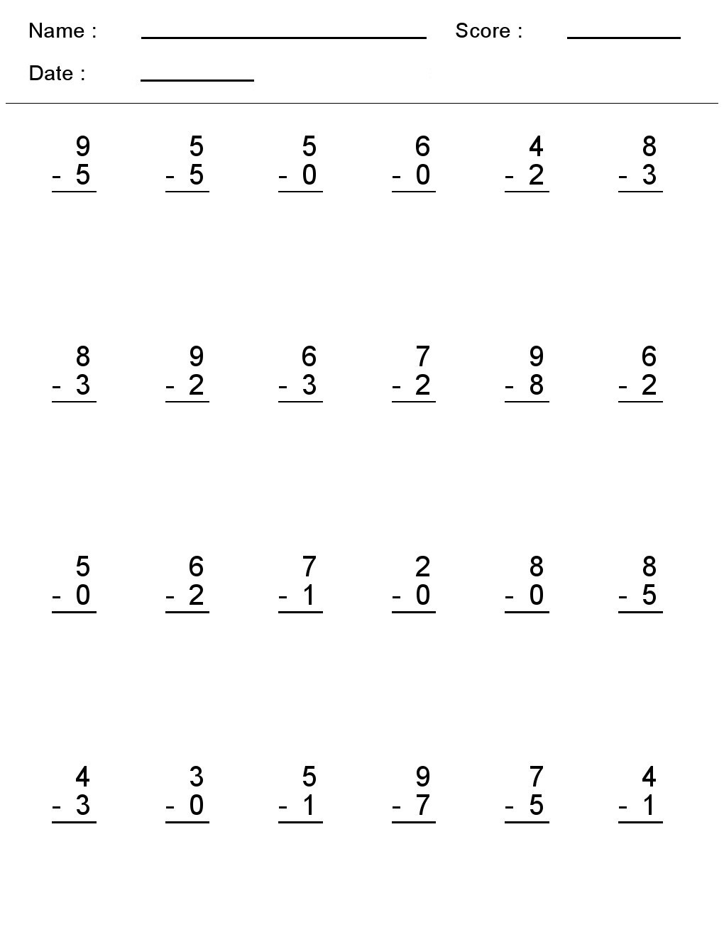 Subtraction Across Zeros Worksheet