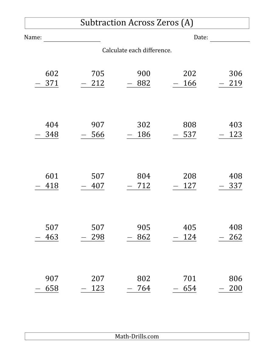 3 Digit Subtracting Across Zeros in the Middle es
