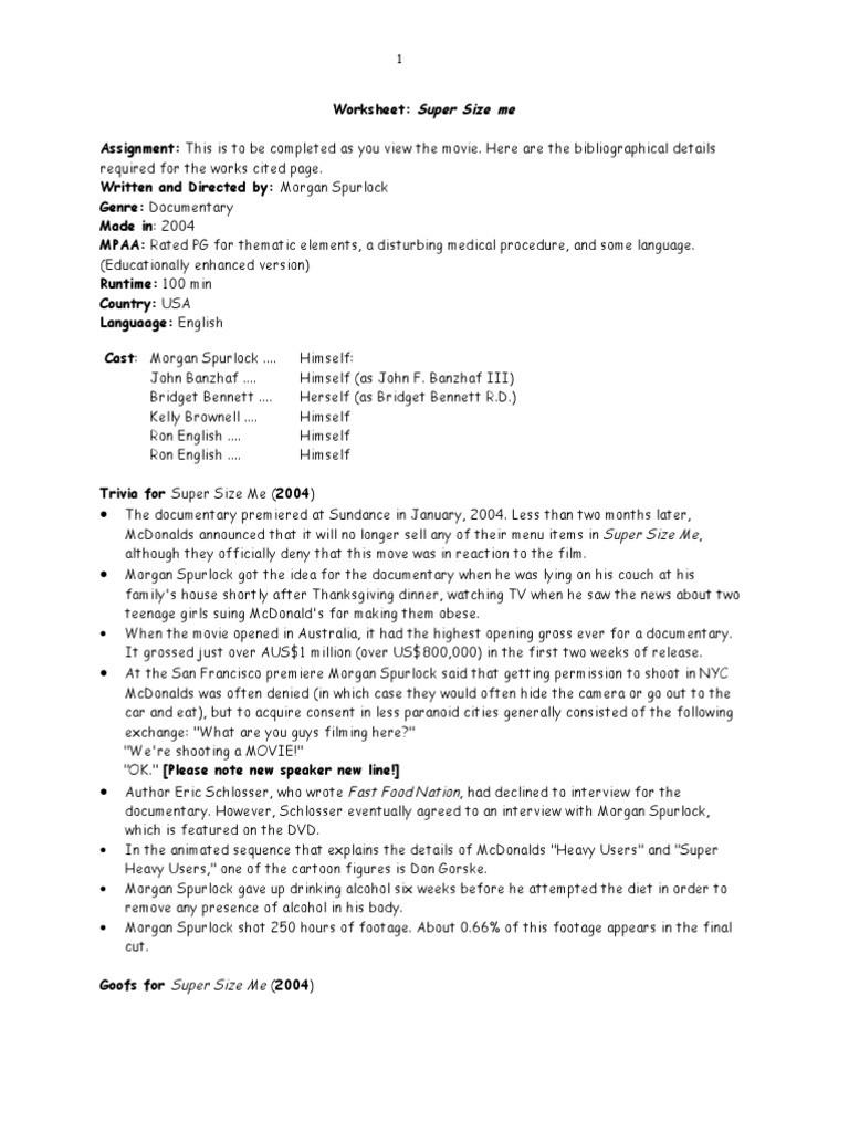 Supersize Me Worksheet Answers