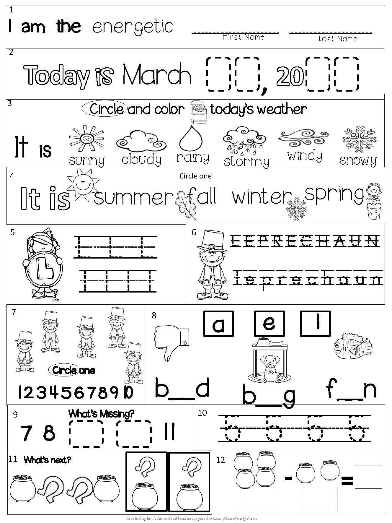 Syllable Worksheet for Kindergarten