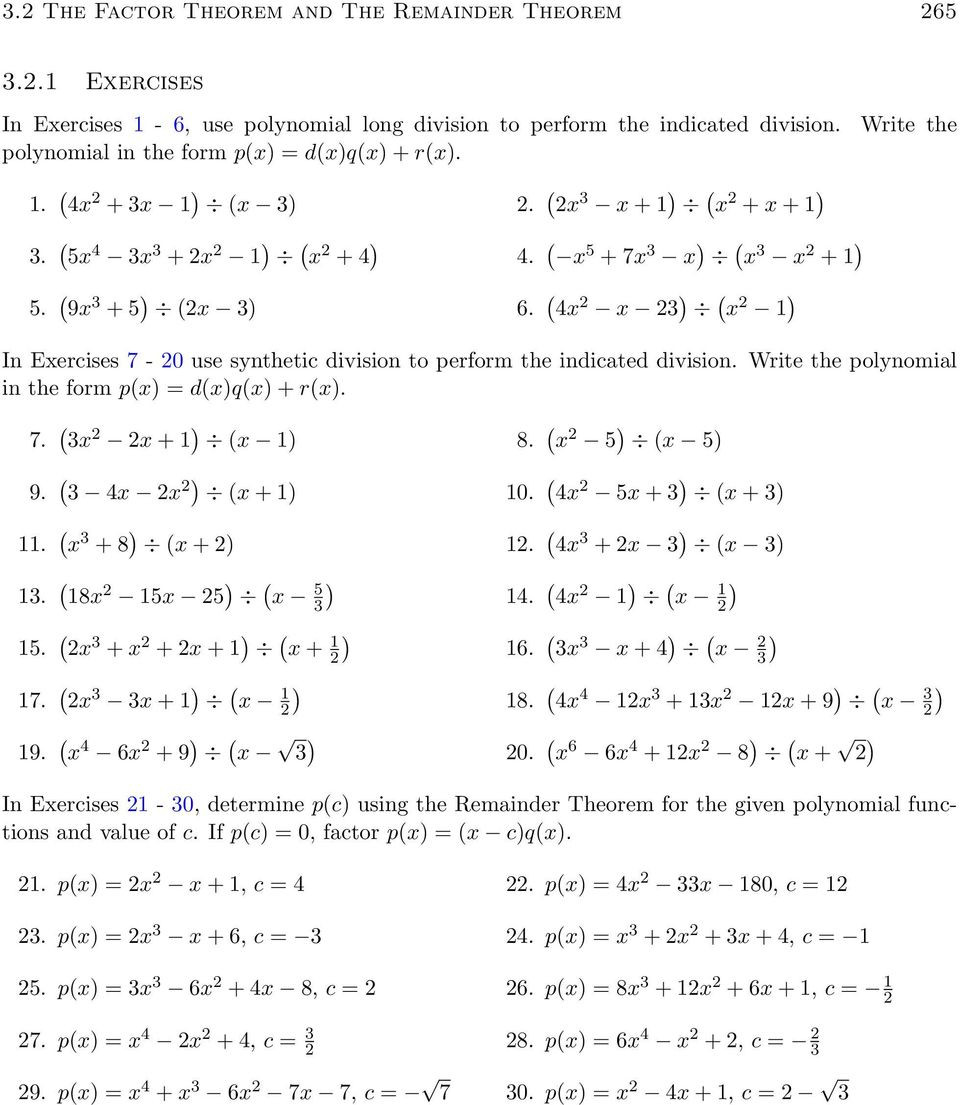 Synthetic Division Worksheet with Answers
