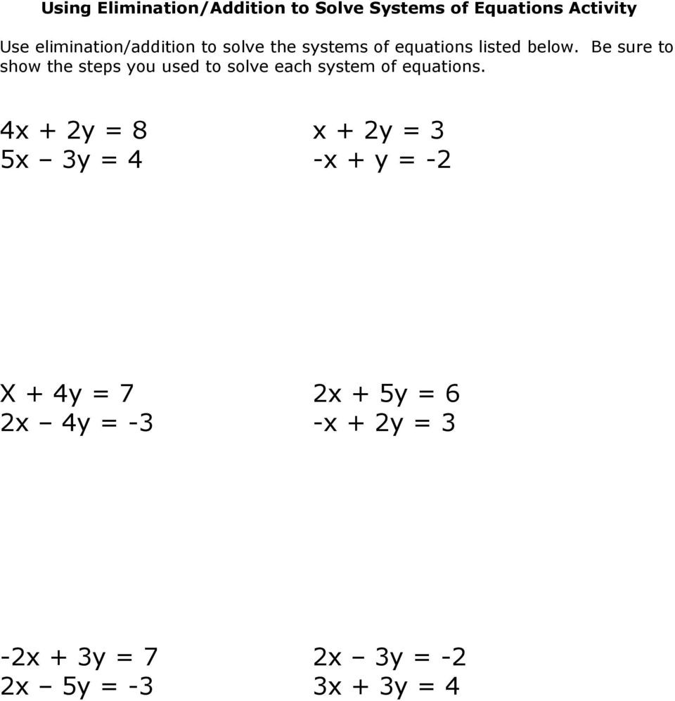 Systems Of Equations Practice Worksheet