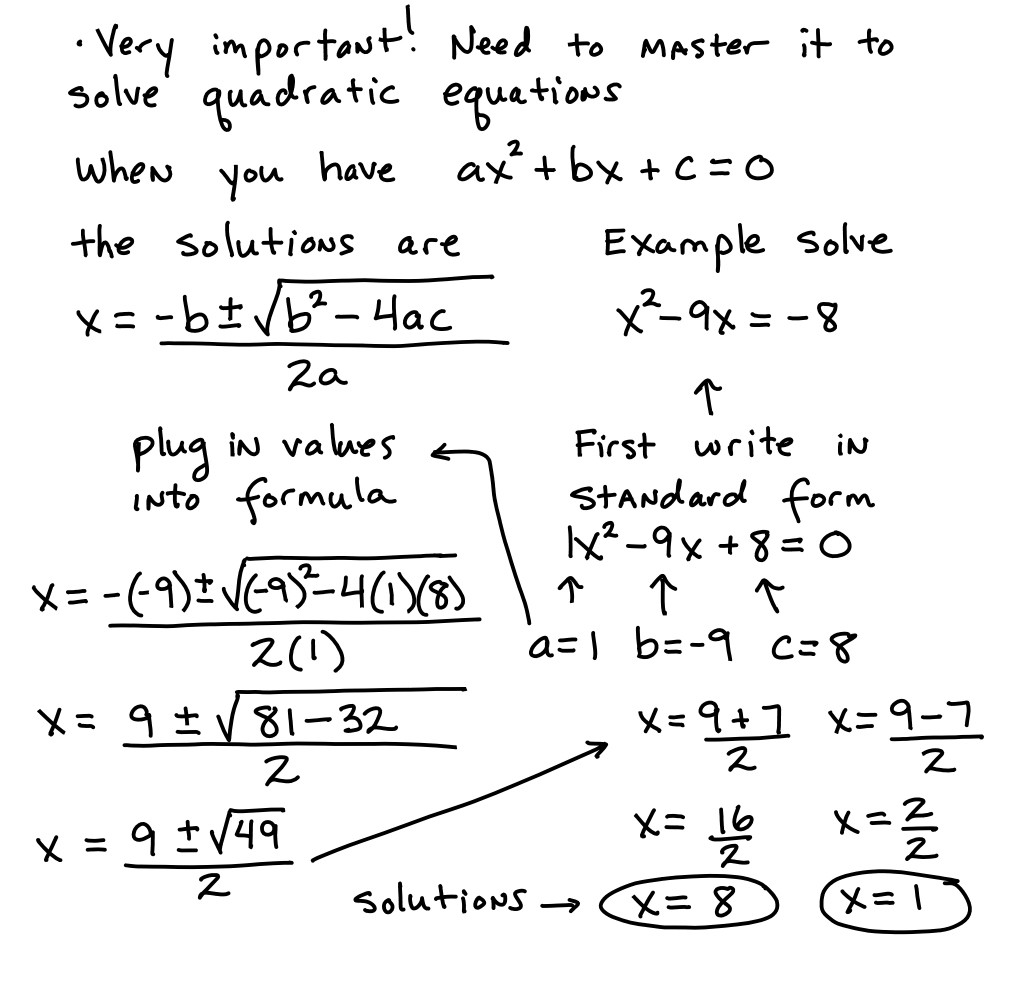 The Quadratic formula Worksheet