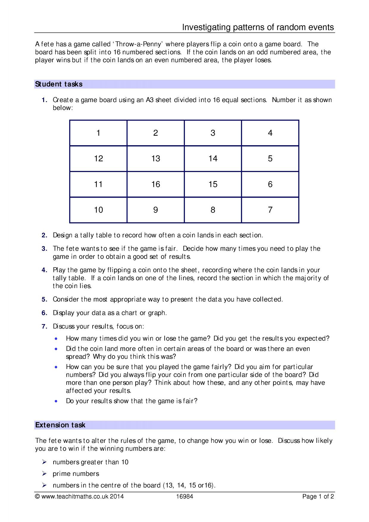Theoretical and Experimental Probability Worksheet