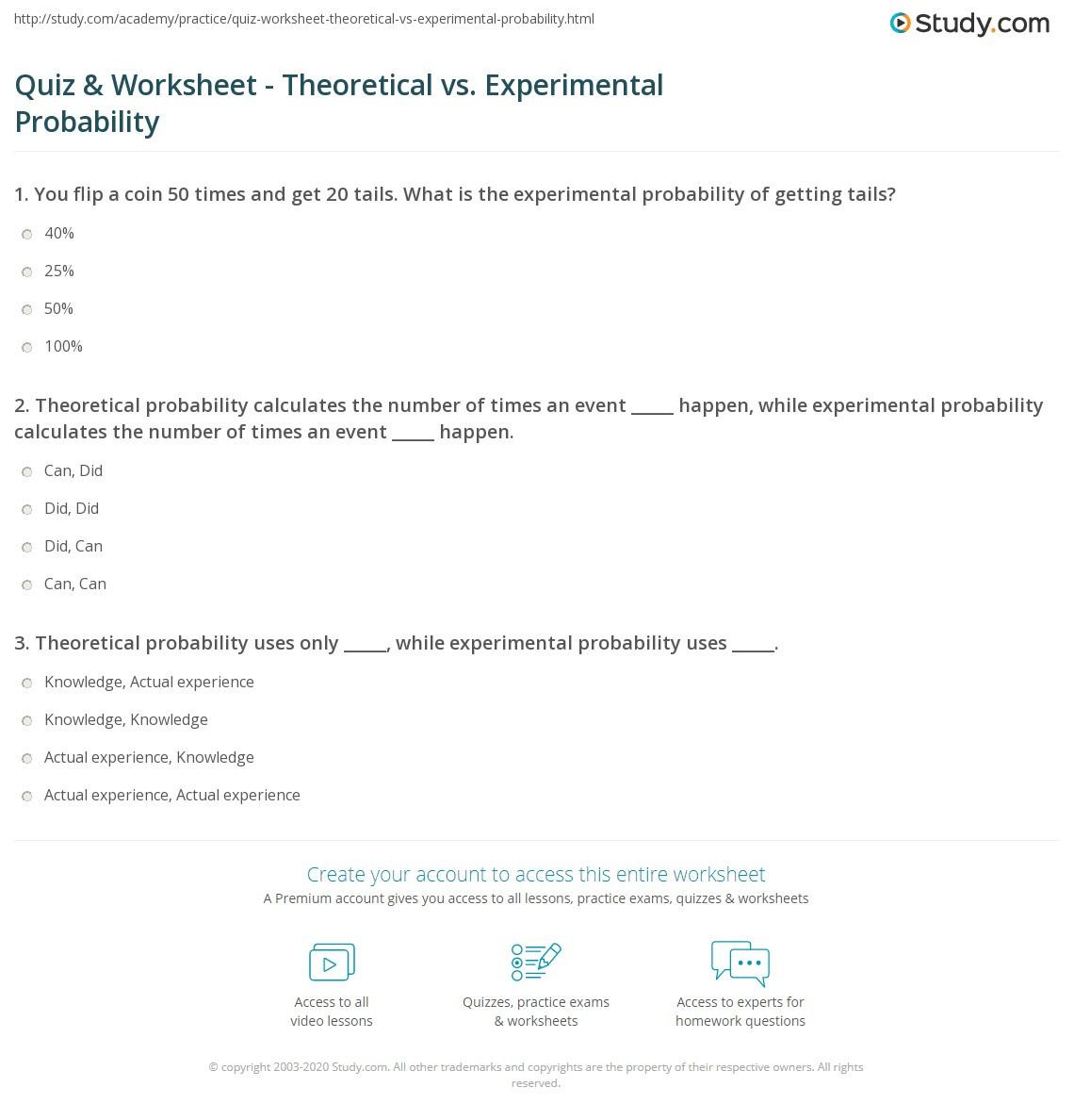 Quiz & Worksheet Theoretical vs Experimental Probability