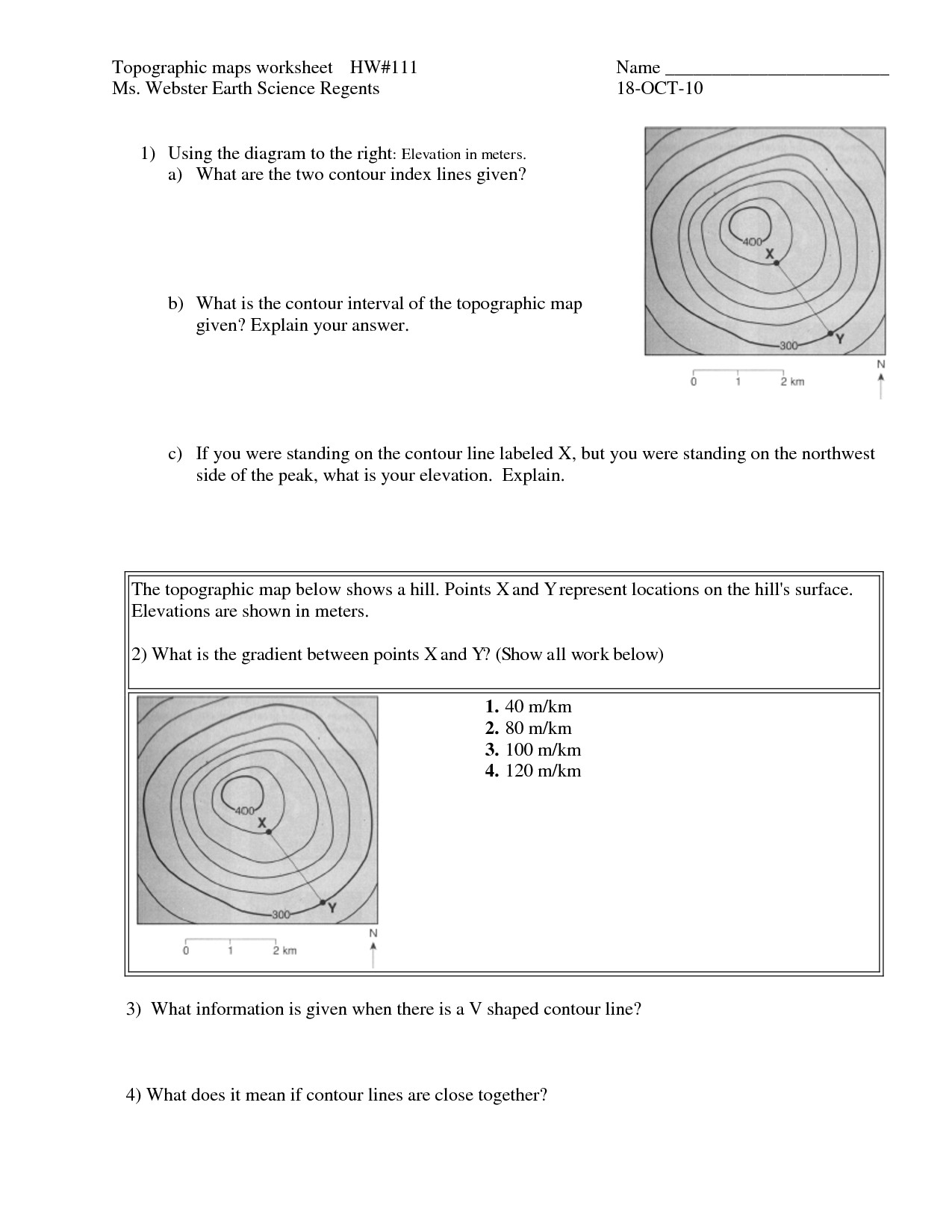 Topographic Map Reading Worksheet Answers