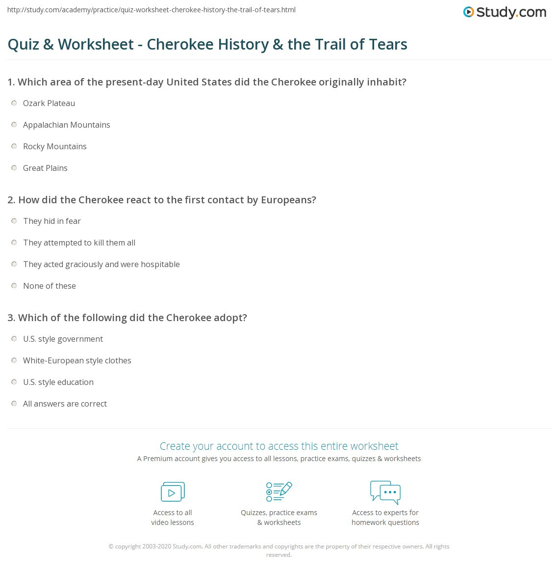 Trail Of Tears Worksheet