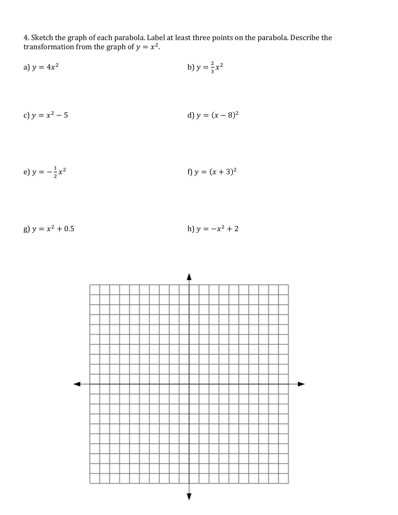 Transformations Of Graphs Worksheet