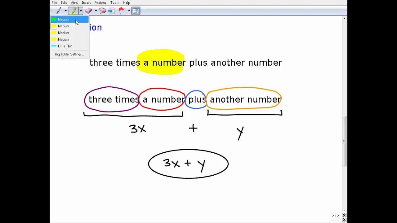 Translating Algebraic Expressions Worksheet