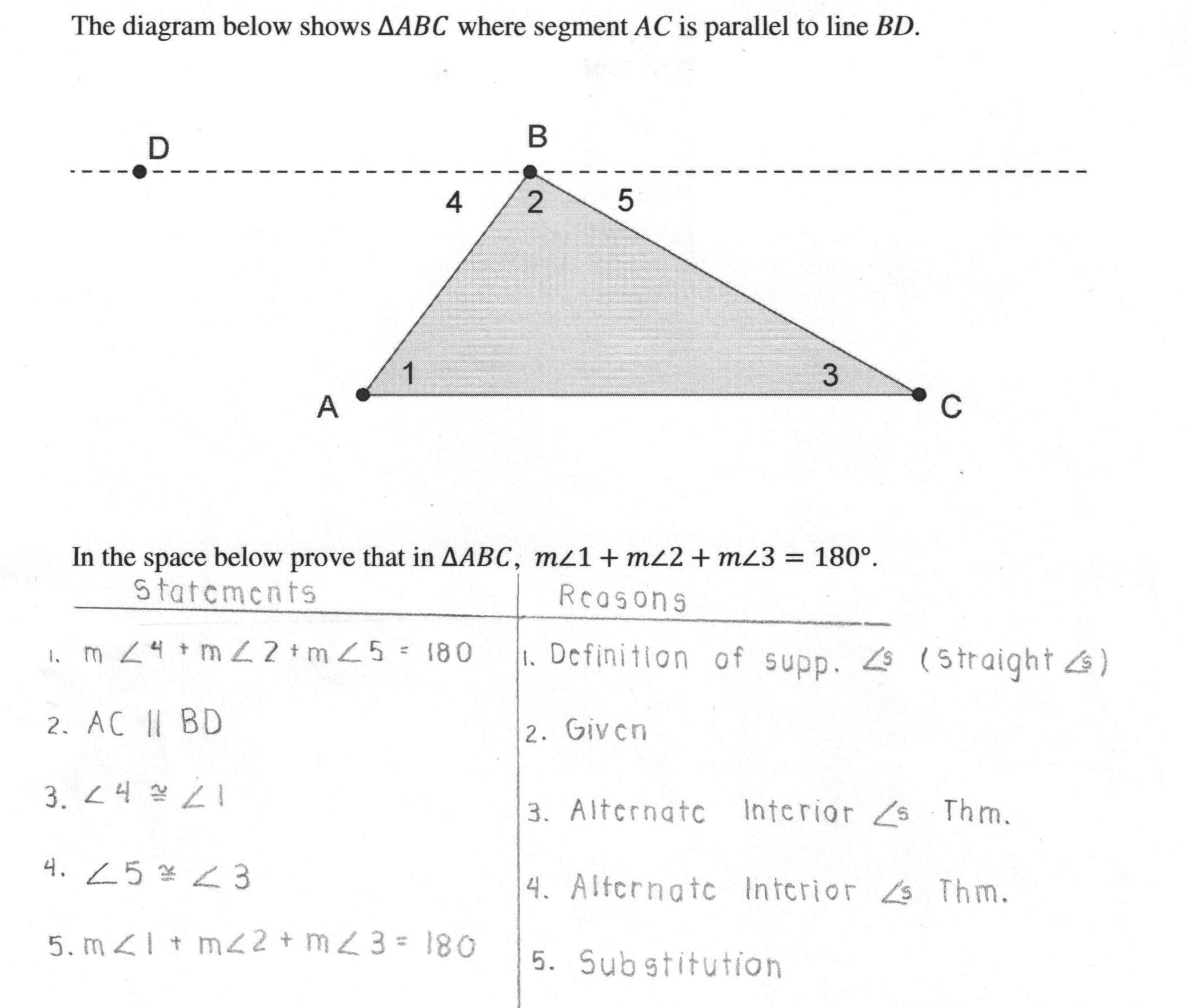 Triangle Interior Angles Worksheet Answers