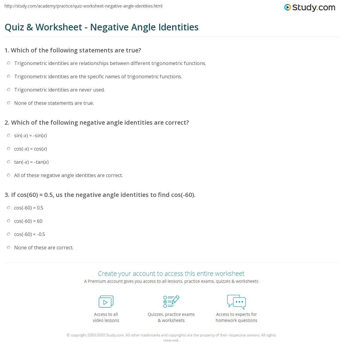 Trig Identities Worksheet with Answers