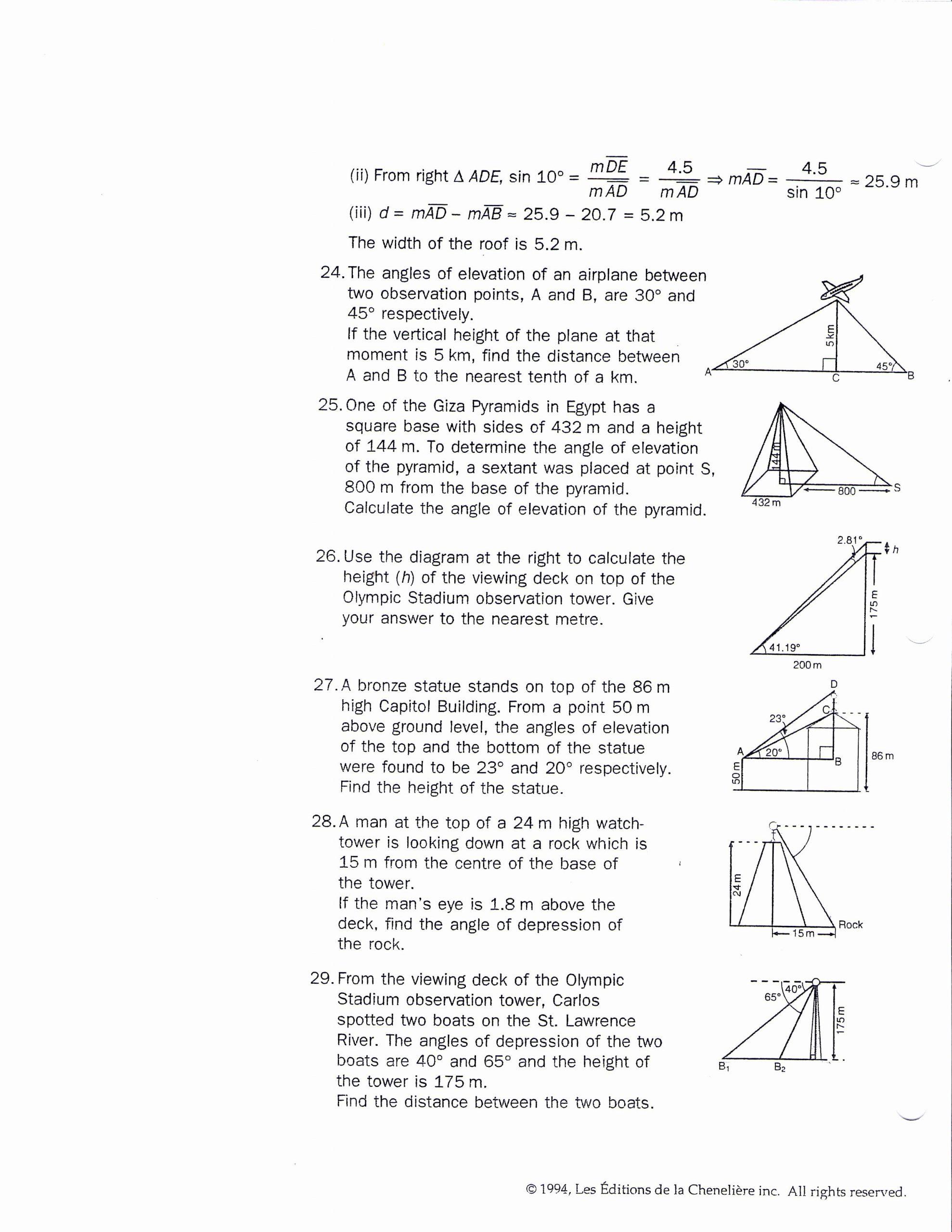 Trigonometry Word Problems Worksheet