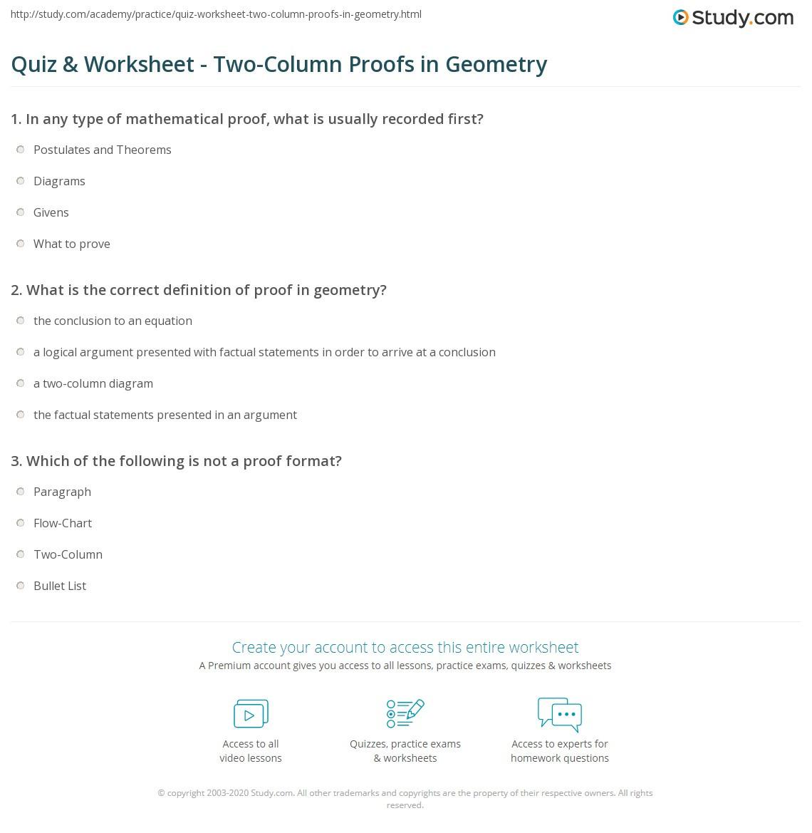 Two Column Proof Worksheet