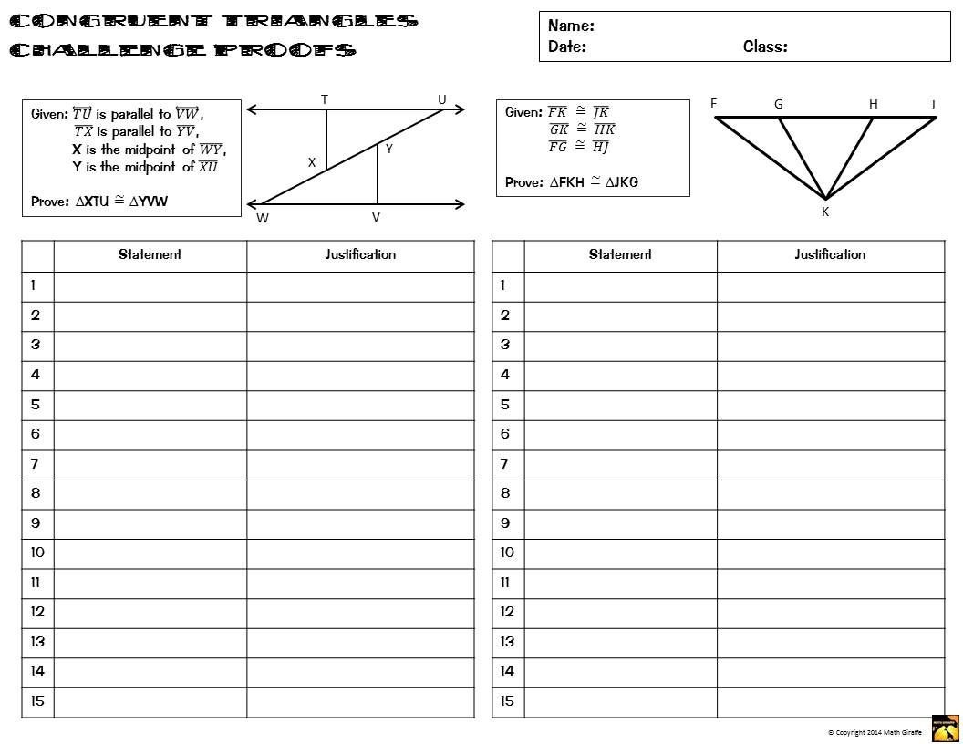 Congruent Triangles Proofs Two Column Proof Practice and