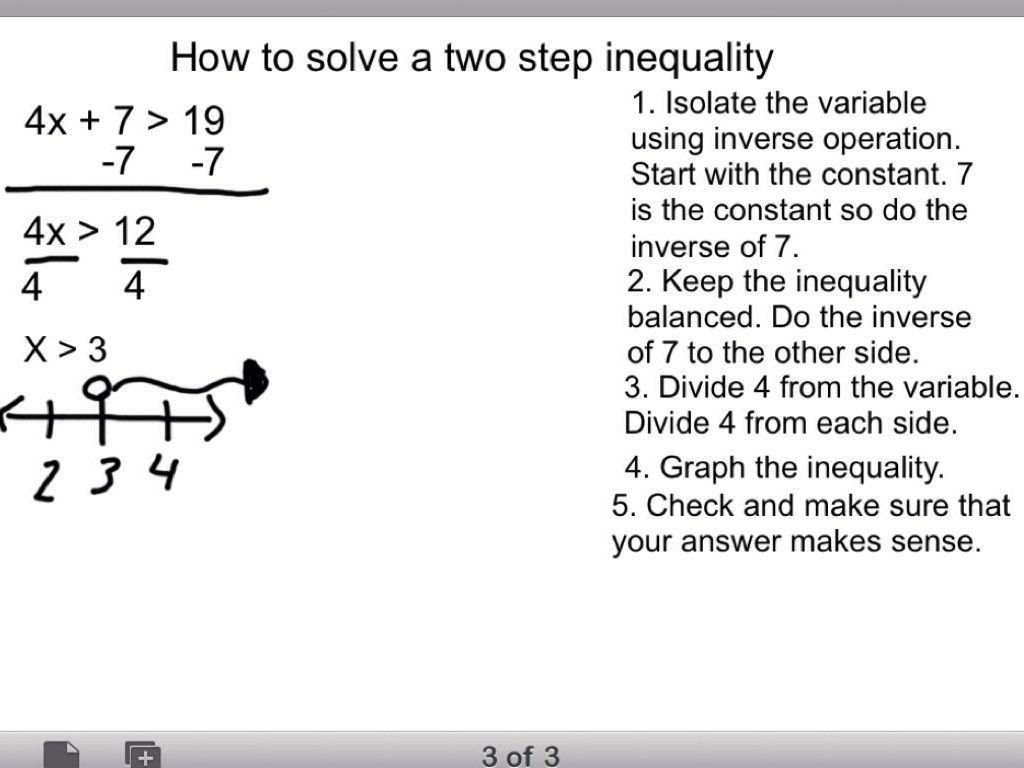 Two Step Inequalities Worksheet