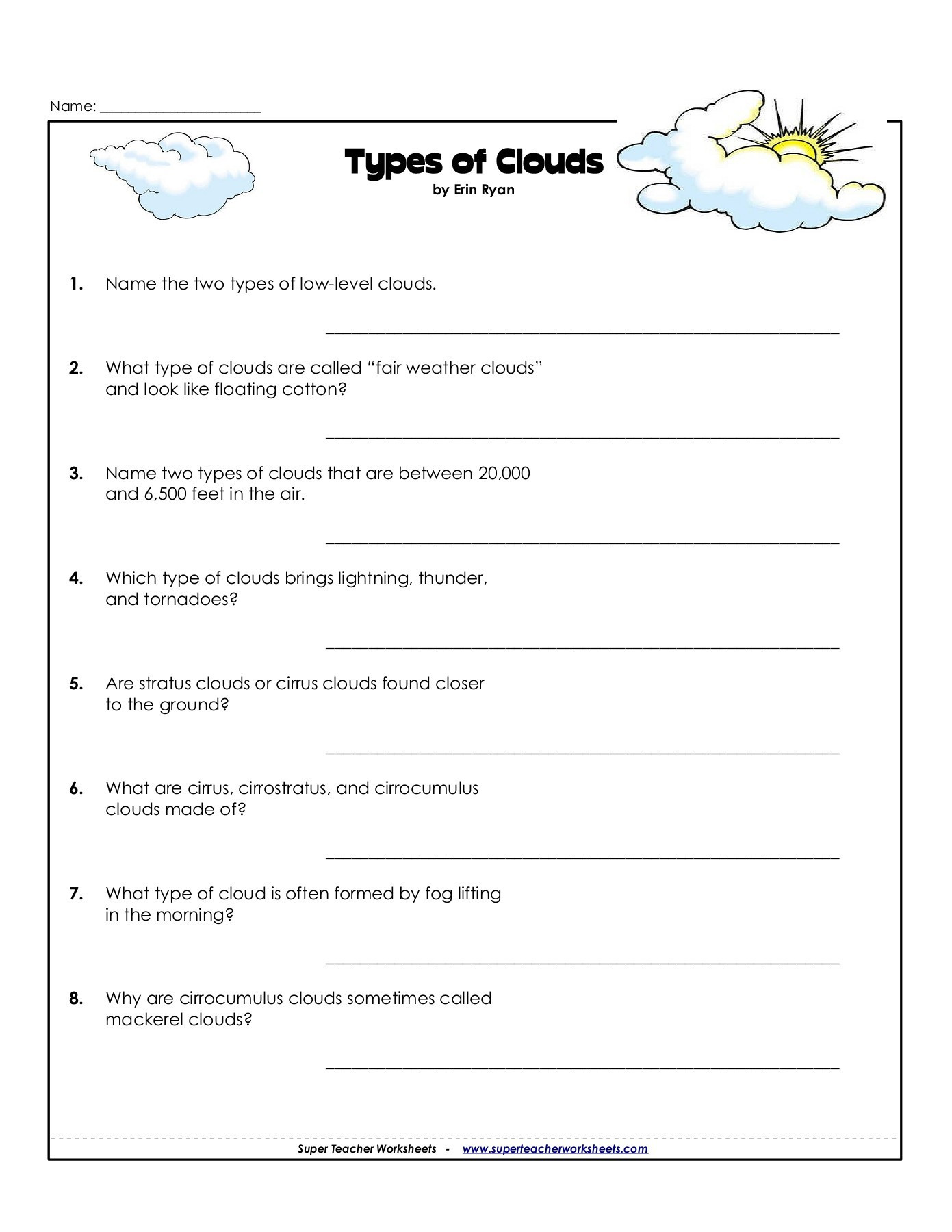 Name Types of Clouds Pages 1 3 Text Version