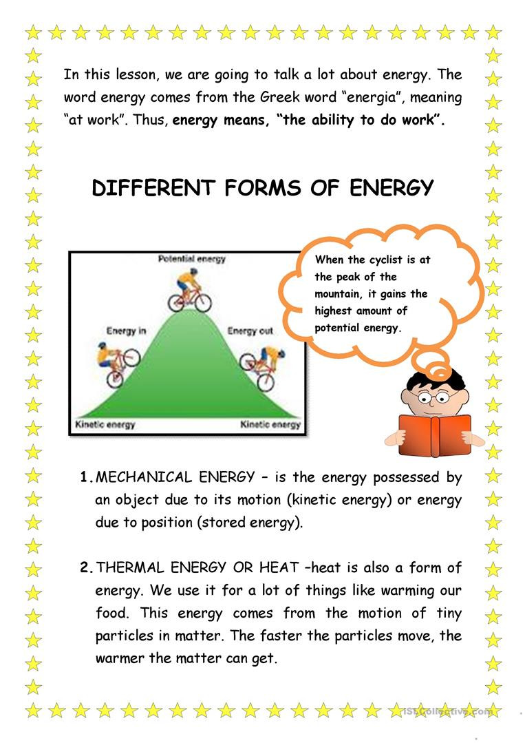 Types Of Energy Worksheet
