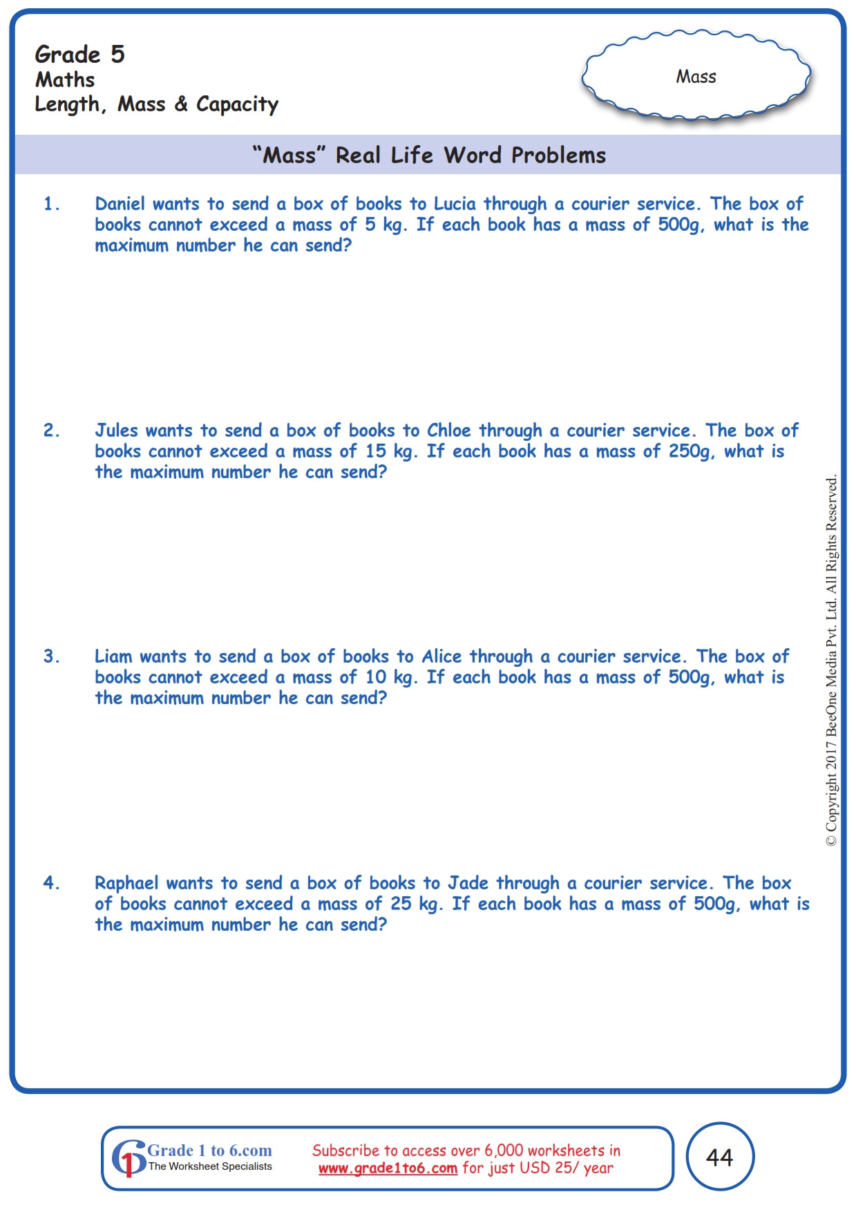 Unit Conversion Word Problems Worksheet
