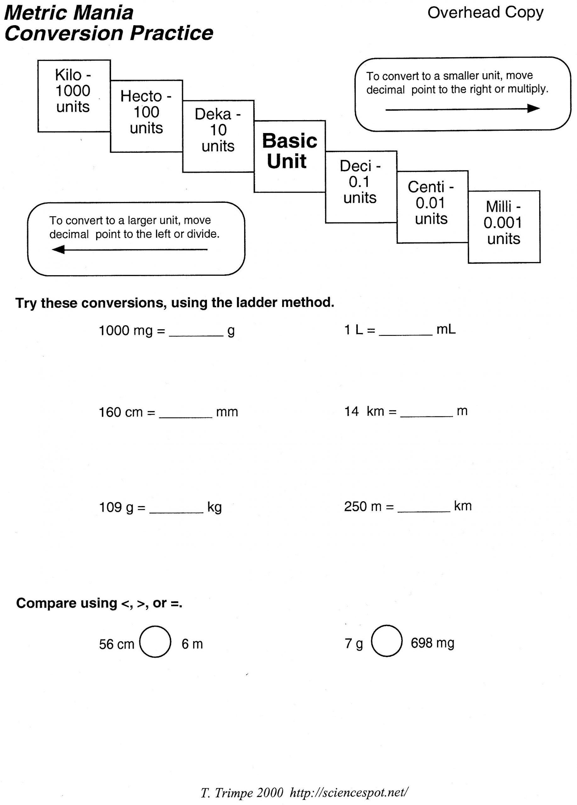Unit Conversion Word Problems Worksheet