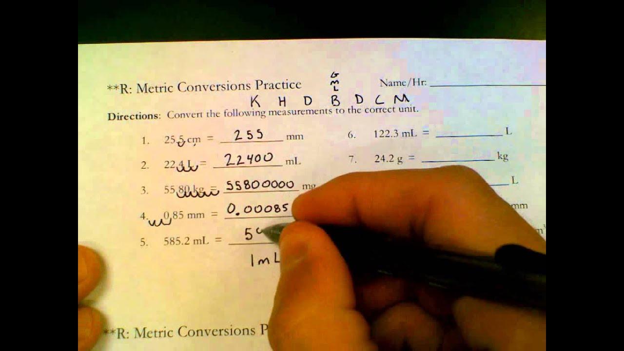 Unit Conversion Worksheet Answers