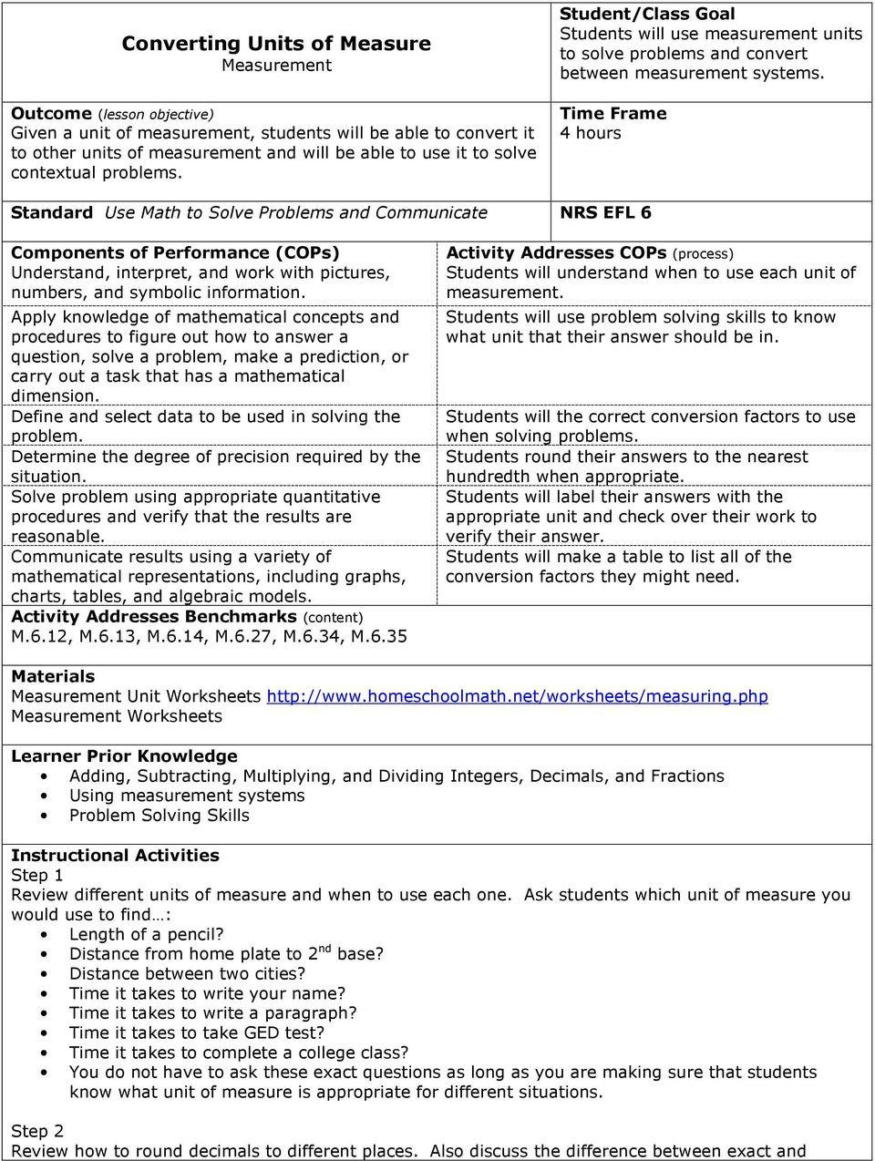 Unit Conversion Worksheet Pdf
