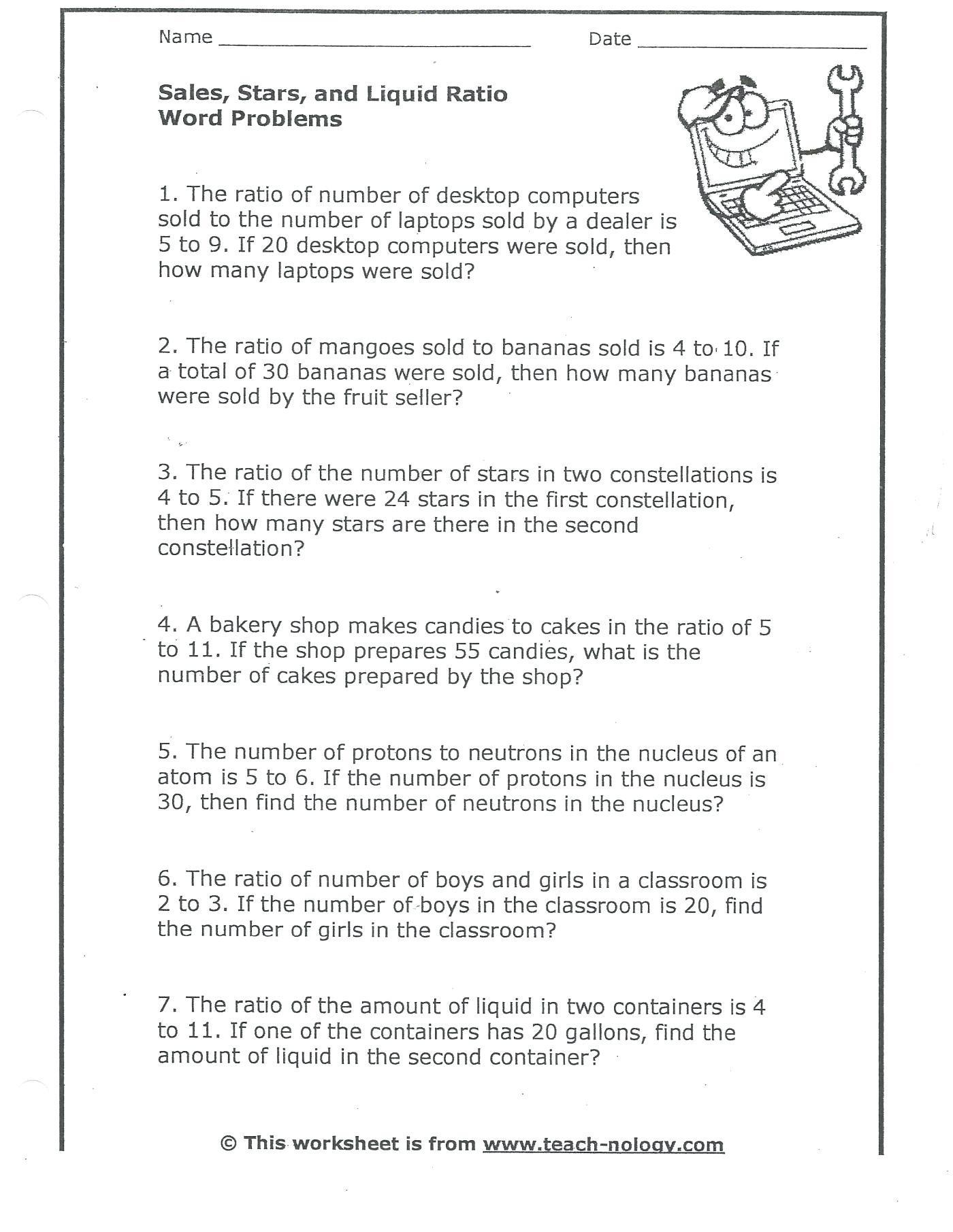 Unit Rate Worksheet 6th Grade