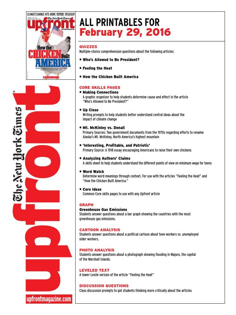 Upfront Magazine Worksheet Answers